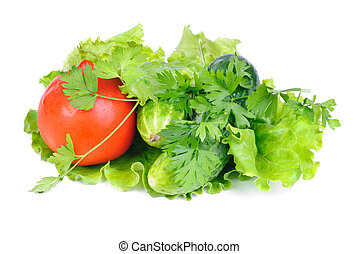 Green salad and fresh vegetables  isolated on white background