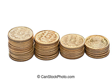 Closeup Coin Stack Isolated White Background Copy Space