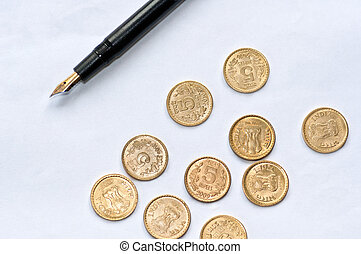 Accounting paper pen coins isolated copy space
