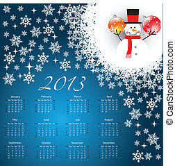 Calendar 2013 with christmas background
