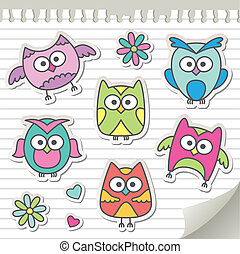 set of cartoon owls on paper page