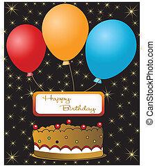 aniversário, cartão, Feliz