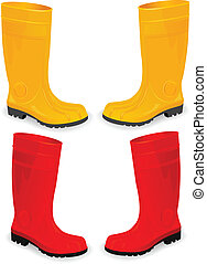 yellow and red rubber boots isolated on white