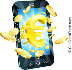 Euro money phone concept illustration of mobile cell phone...