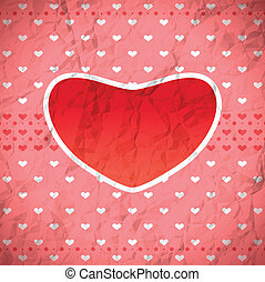 Crumpled retro heart frame - Retro heart frame on the...
