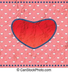Vintage crumpled heart frame - Vintage heart frame on the...