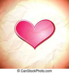 Heart on the crumpled paper