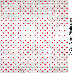 Polka dot pattern on white textured fabric