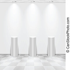 White room with stands - White room with lightened stands...