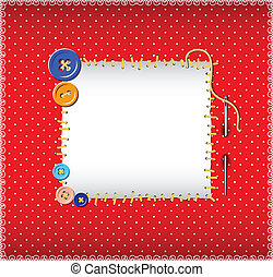 Polka dot pattern with stitched buttons - Square polka dot...