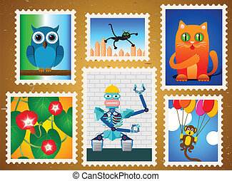 Set of colorful postage stamps with animals, flowers and...