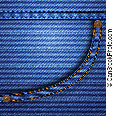 Jeans pocket - Blue jeans pocket with rivets and seams