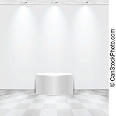 White room with round stage - White lightened room with...