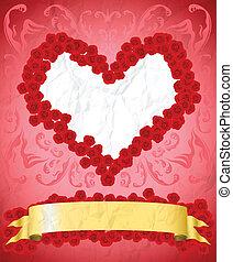 Vintage Valentine's Day card - Crumpled vintage Valentine's...