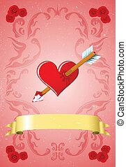 Vintage Valentine's day card - Scratched vintage Valentine's...
