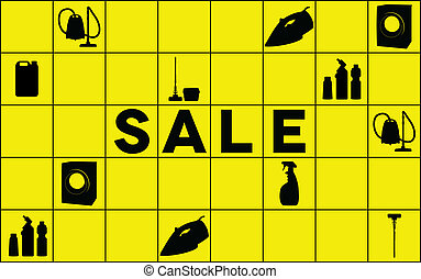 Cleaning equipment sale banner - Yellow sale banner with...