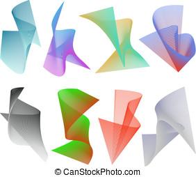 Vector 3D Spirals Set