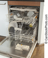 Open dishwasher in kitchen