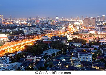 Bangkok Dowtown at dusk - Citscape of Bangkok Skylines at...