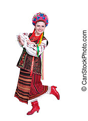 Girl in national ukrainian russian costume - Young woman in...
