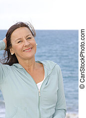 Portrait Pretty mature woman at seaside - Portrait of an...
