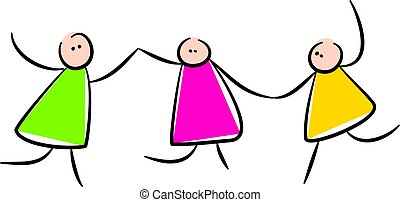 Cute Stick People Holding Hands - Simple whimsical style...