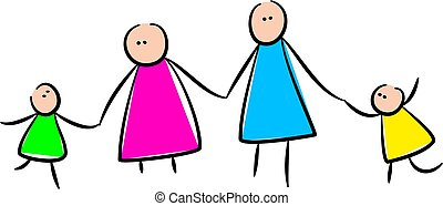 Cute Stick Family Holding Hands - Simple whimsical style...