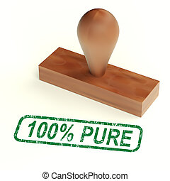 One Hundred Percent Pure Stamp Shows Genuine Or Natural