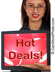 Hot Deals Computer Message Representing Discounts Online