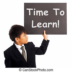 Time To Learn Sign Shows Learning Or Studying Now - Time To...