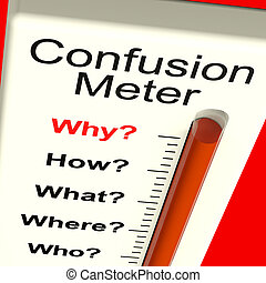 Confusion Meter Shows Indecision And Dilemma - Confusion...