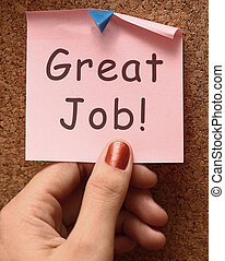 Great Job Note Shows Praise Or Approval - Great Job Note...