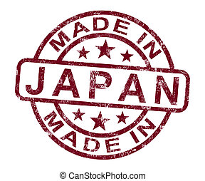 Made In Japan Stamp Shows Japanese Product Or Produce