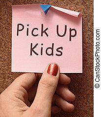 cogliere, su, bambini, messaggio, a, raccogliere, bambini