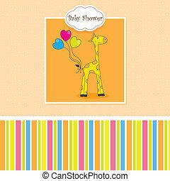 Postcard born baby.giraffe