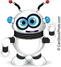 funny robot - illustration of a cheerful robot with antennas