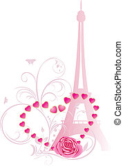 Rose with heart and Eiffel tower