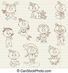 Baby Girl Cute Doodles - for design and scrapbook - in...