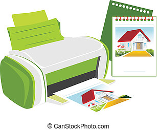 Publishing printer. Vector illustration
