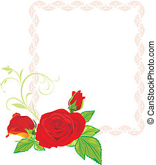 Red roses in the decorative frame