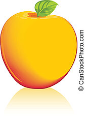 Yellow apple isolated on the white. Vector illutration