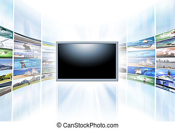 A flat screen television has a blank black text area with...