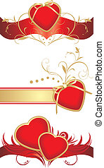 Red hearts for design to the Valentines day. Vector...
