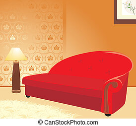 Red sofa and floor lamp