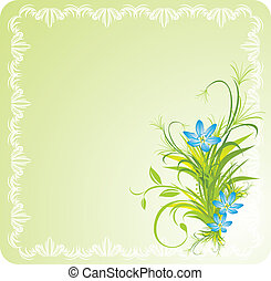 Flowers in the decorative frame - Bouquet of blue flowers...