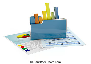 fiancial analysis and computer - computer folder with chart...