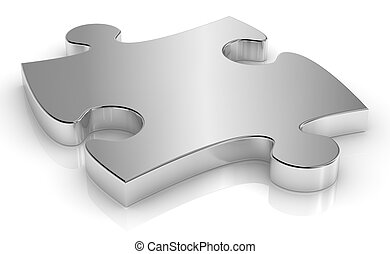 puzzle piece - close up of one puzzle piece made of steel...