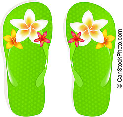 Flip Flops With Flowers - Flip Flop Sandals With Plumeria...