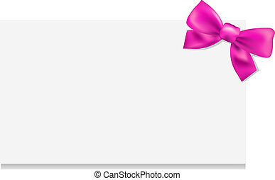 Blank Gift Tag With Pink Bow, Isolated On White Background,...