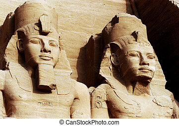 The Great Temple of Abu Simbel - Statue of Ramses II at the...